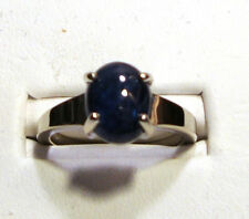 NEW 4.05ct Large Cabochon BLUE SAPPHIRE Gold Ring 14k White Gold Size 7.0