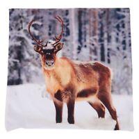 CHRISTMAS Stag in Snow Reindeer Cushion Cover (deer) K3R6