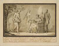 """F.FÜGER (*1751) Umkreis, Minerva und Kind bei """"Magna Mater"""", 1811, Federzchng"""