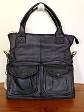 "FOSSIL ""Modern Cargo Convertible"" Black Leather Crossbody/Tote - New with Tags"
