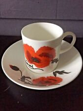 Susie Cooper Design Cups & Saucers x 1 Corn Poppy By Wedgewood Free PP UK Nice
