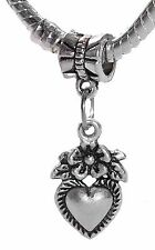 Heart Flower Bouquet Love Floral Dangle Charm for Silver European Bead Bracelets