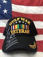 Gulf War Veteran US Military Hat With Ribbon Adj.Blk FREE SHIPPING in Box