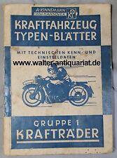 Orig. Kinnemann Kraftfahrzeug-Typenblätter Krafträder 1948 Motorrad Motorräder
