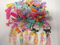 Huge Vtg Polly Pocket Lot 8 Dolls And Tons of Clothes B4