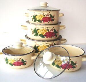 10 Pc Enamel Cookware Set Casserole Pots Lid Soup Stockpot