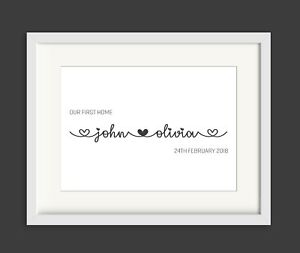 House warming First Home Gift Personalised with names Print or Framed