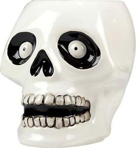"Skeleton Skull 37239 Scaredy Cat 3D Candy Dish Treat Jar Ceramic 8.5"" H"