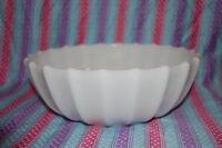 Medium-Sized  Serving Bowl - White Milk Glass - Ribbed