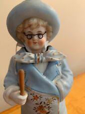 Vintage Antique German Bisque Nodder wearing glasses Dr