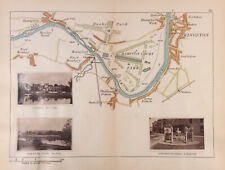 River Thames Map Hampton Court Palace Park, Kingston c1885 by Henry Taunt origin
