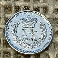 More details for 1843 victorian silver threehalfpence  nef
