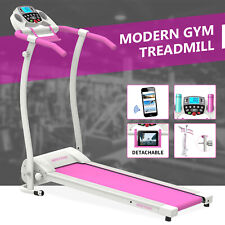 Folding Electric Motorized Treadmill Running Machine with Bottle PAD Holder Pink