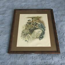 Antique Victorian Grain Painted Frame,The Honeymoon Harrison Fisher Print,1912