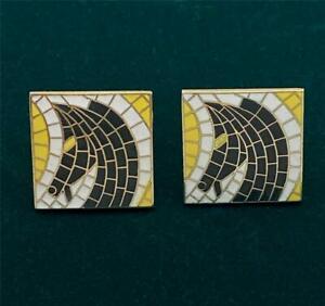 Vintage Mid-Century Swank Mosaic Horse Head Gold Tone Cufflinks