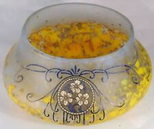 "Legras fine art nouveau yellow enamel glass bowl flowers 4"" Nancy School c1925"
