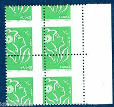 variété lamouche TVP vert N° 3733a piquage à cheval en croix en bloc de 4 bdf