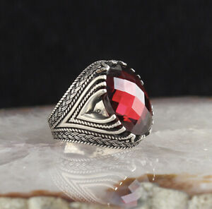 Handmade pure 925 SILVER ring Red crystal stone Men size jewelry wedding RRP40