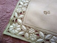 "Elaborate High Quality Cutwork & Embroidered Beige Linen Tablecloth 34"" x 32.5"""