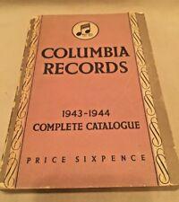 Columbia Records 1943-1944 Complete Catalogue British/American Records