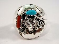 Navajo Handmade Sterling Silver Coral & Turquoise Wolf Ring - Grace Smith-Sz-13