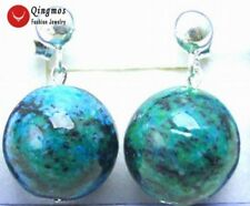 14mm Round Green Natural Chrysocolla Dangle / Stud Earring for Women Silver e205