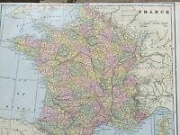 Antique COLOR MAP of France-circa 1893
