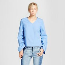 Who What Wear Women's Drawstring Sleeve Top  Color: Blue  Size: XXL