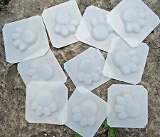 "set of 10 mini dog paw prints  each 1.75 x 1.75 x 1/4"" thick"