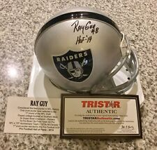 RAY GUY AUTOGRAPH OAKLAND RAIDERS MINI HELMET HOF '14 INSCRIPTION TRISTAR COA