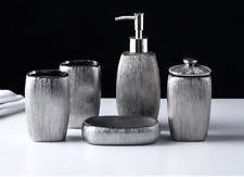 Ceramic 5pcs Bathroom Accessories Set Silver Soap Dish Tumbler Toothbrush Holder