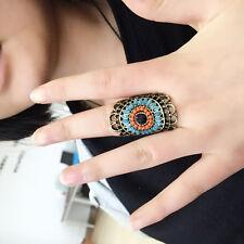 Retro Bohemian Fashion Women Charms Colorful Rhinestone Sun Flower Ring Size 6