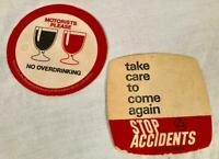 2 VINTAGE ANTI DRUNK DRIVING BEER MATS / COASTERS FROM ENGLAND
