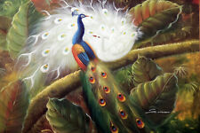 Peacock Birds Tree Garden Landscape STRETCHED 24X36 Oil On Canvas Painting
