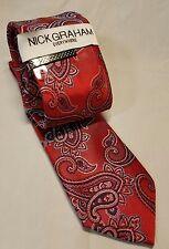 """Nick Graham Men's Red Paisley Neck Tie with Tie Bar New without Tags 58"""" x 3"""""""