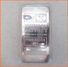 "10 oz .999 Silver ""JOHNSON MATTHEY ORIGINAL SEAL"" Art Round/Bar H306"