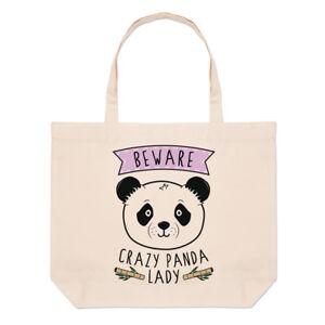 Beware Crazy Panda Lady Large Beach Tote Bag - Funny Animal Cute Shoulder