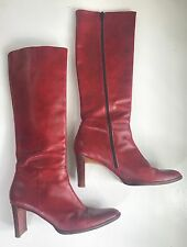 Made in Italy*Rich Red Leather Slim Knee/Tall Boots Banana Republic Women's 9.5