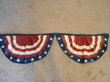 """Pair of Red White & Blue Patriotic Buntings for Porch Railings EA 36"""" x 20"""""""