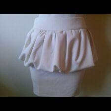 Luxe Apothetique NWT Peplum Mini Skirt Women's Small Cream Beige Pencil