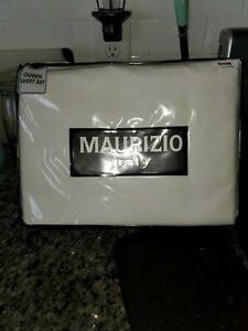 Maurizio Italy Queen Sheet Set 4 Piece White 100% Cotton New