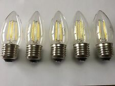 5 Pack de LED Lámpara de filamento Vela E27 4W C35 6000K salida de luz del día