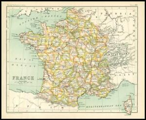 c1912 Map of FRANCE Chart Regions (BS22)