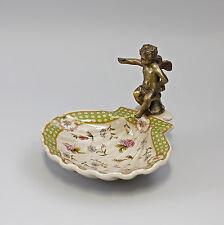 9977431 Muschel-Schale mit Putto grün Seifen-Ablage Keramik Bronze