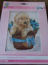 AUTHENTIC SERIGRQPHY PRINT NEEDLEPOINT KIT PUPPY DOG IN BASKET OF BLUE FLOWERS