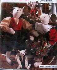 "Burda Craft Pattern Christmas Mouse 21"" 10"" greeter doll soft sculpture Mice"