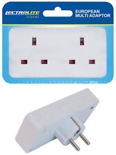 2 Way European Travel Electrical Plug Socket Adaptor Eu 2 pin to Double UK 3 pin
