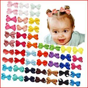 JOYOYO 50 Pcs Baby Girls Hair Bows 2 in Mini Bows Alligator Clips Fully coverd