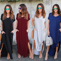 Women Short Sleeve Solid Long Dress Ladies Baggy Kaftan Maxi Dress Slit Sundress