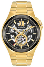 Bulova Maquina 98A178 46mm Gold-Toned Skeleton Dial Automatic Men's Watch